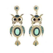owl earrings earrings with rhinestones