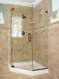 classic bathroom with frameless neo angle corner shower doors and