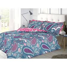 pieridae paisley teal pink king duvet cover quilt cover bedding