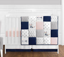 Zutano Crib Bedding Zutano Elefant Blau Crib Set White Blue Grey 4 Count Ebay