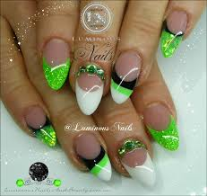 luminous nails lime green white u0026 black nails nail