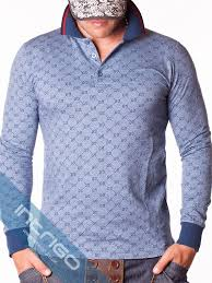 light blue long sleeve polo gucci logo pattern light blue long sleeve polo intrigo store
