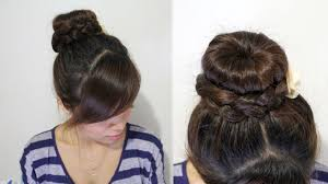 put your hair in a bun with braids braided donut hair bun updo hairstyle for medium long hair