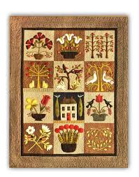 silk home at home in the garden wool applique on silk matka block of the