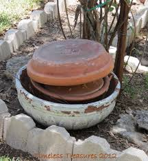Pedestal Pots Timeless Treasures Stacked Clay Pots And Saucer Pedestal Planter