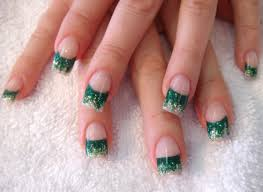 glitter green and white french manicure