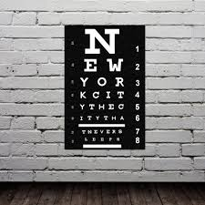New York City Home Decor Eye Chart New York City Poster Typography Print Modern Home