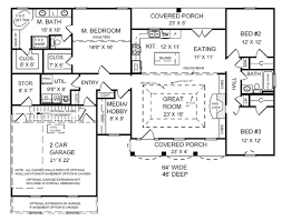 3 Bed 2 Bath House Plans Southern Style House Plan 3 Beds 2 00 Baths 1751 Sq Ft Plan 21 123
