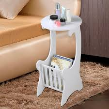 white modern side table popamazing white round side table with magazine shelf for living
