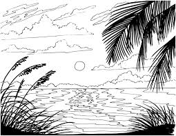 beach sunrise coloring page embroidery pattern beach art