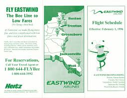 Spirit Route Map by Airline Timetables Eastwind Airlines February 1996