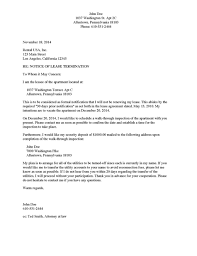 lease termination letter example letter of termination sample