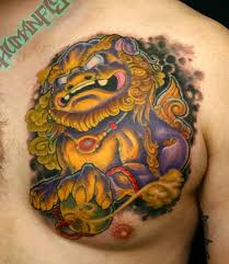 orange foo dogs 16 foo dog tattoos on chest