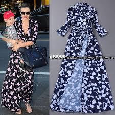 2017 runway life miranda kerr celebrity clover print casual dress