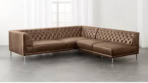 Tufted Sectional Sofa Chaise Savile Saddle Leather Tufted Sectional Sofa In Sectionals