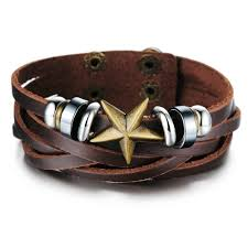 leather star bracelet images Buy vintage mens jewelry real leather quality jpg