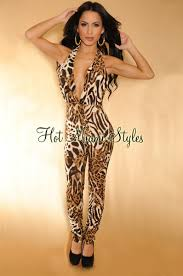 cheetah print jumpsuit brown cheetah v neck halter jumpsuit
