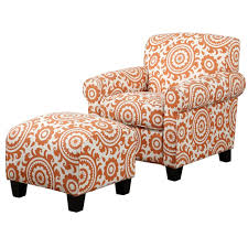 Grey Patterned Accent Chair Script Accent Chair With Arm Rests Modern Occasional Chairs Orange