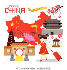 chinese travel china tour vacation map destination vector