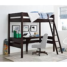Bunk Bed With Workstation Dorel Living Harlan Wood Loft Bed With Desk Espresso