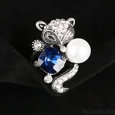blue crystal rings images Cute blue crystal pearl fox ring animal two set rings fashion jpg
