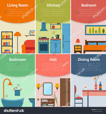 Rooms In A House Banners Furniture Icons Rooms House Flat Stock Vector 277759301