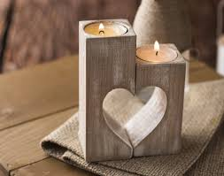 wedding gift decoration ideas wooden candle holders rustic candle holders wood hearts