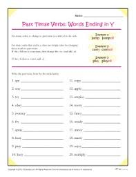 past tense verbs words ending in y spelling patterns