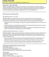 Resume Objective For Preschool Teacher Pre K Teacher Resume Lukex Co