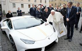 lamborghini car drawing pope francis given a lamborghini sports car but plans to auction