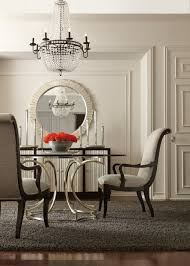 bernhardt miramont 5 piece round dining room set in argento finish