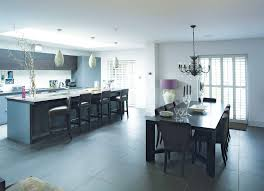 Grey Modern Kitchen Design by Modern White Wall Garage Converted Into A Kitchen That Has Grey
