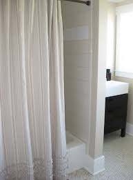 Simple Shower Curtains Simple Bathroom With Pottery Barn Ticking Stripe Shower Curtain