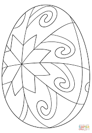 easter egg with star pattern coloring page free printable