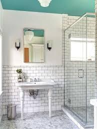 Gray Floor Bathroom - subway tiles with dark grout houzz