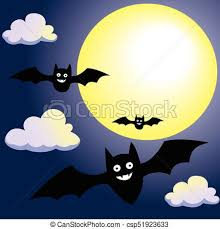 bat with moon and clouds on sky vector illustration