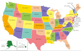 Map Of The Up A Map That Shows What Athlete Each State Is Most Known For