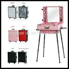 Makeup Vanity Rolling Makeup Cases Cosmetic Case With Lighted Mirror