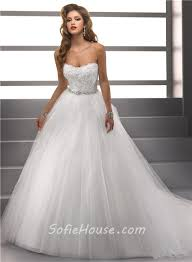Strapless Wedding Dress Simple Ball Gown Strapless Lace Tulle Puffy Wedding Dress With