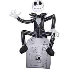 nightmare before halloween amazon com halloween inflatable 5 jack skellington on grave stone