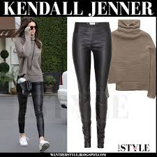 jenner sweater kendall jenner in brown knit turtleneck sweater and black