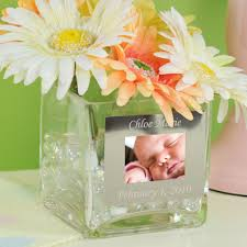 Square Glass Vase Engraved Square Glass Vase With Photo Frame Bride U0027s Gifts