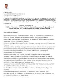 Maintenance Foreman Resume Cv Electrical Supervisor 2016