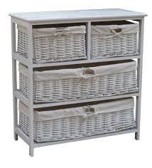 accent storage cabinet with three seagrass basket drawers antique