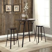 Acme Furniture Acme Furniture Dora 3 Piece Weathered Dark Oak And Black Bar Table
