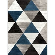 Midcentury Modern Rugs Well Woven Mid Century Modern Blue Black Grey Geometric