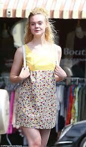 elle fanning steps out for lunch in cute floral mini dress daily