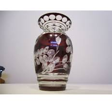 Ruby Vases Antique Bohemian Czech Deep Ruby Red Cut To Clear Crystal Vase 11