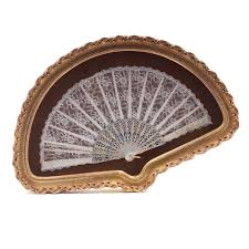 lace fan lace fan with pearlized handle in frame ebth