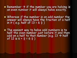 to be able to use partitioning to double or halve numbers ppt